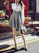 Gray Girly Swing Midi Skirt