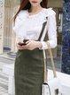 Solid Appliqued Ruffled Long Sleeve Elegant Top