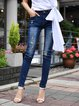 Blue Solid Cotton Ripped Casual Jeans