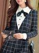 Black Checkered/Plaid Shirt Collar Elegant Top