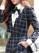 Black Checkered/Plaid Shirt Collar Elegant Top