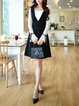 Black-white Bell Sleeve Guipure Lace Midi Dress