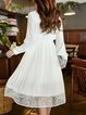 White Solid Long Sleeve Ruffled Midi Dress