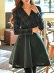 Long Sleeve  Elegant Surplice Neck Midi Dress