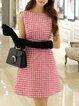 Houndstooth A-line Sleeveless Elegant Midi Dress