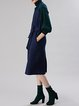 Navy Blue Casual A-line Spaghetti Midi Dress With Belt