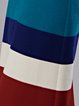Multicolor Stripes Casual Color-block H-line Zipper Midi Skirt