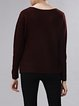 Crimson Crew Neck Solid Casual Knitted Sweater