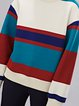 Multicolor Stripes Color-block Crew Neck Casual Sweatshirt