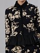 Black Cotton-blend Long Sleeve Ruffled Floral Coat