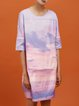 Multicolor Crew Neck Silk Half Sleeve Abstract Midi Dress