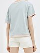 Blue Casual Floral Color-block Short Sleeved Top