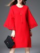 Plain Bell Sleeve Grommet Crew Neck Elegant Midi Dress