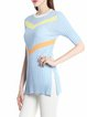Light Blue Solid Half Sleeve Knitted Tencel Shorts Sleeved Top