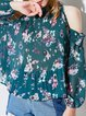 Dark Green Cold Shoulder Floral-print Tops