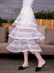 White Polyester A-line Tiered Girly Midi Skirt