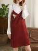 Burgundy Floral-embroidered Two Piece Dress With Top