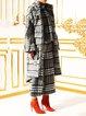 Deep Gray Hoodie Wool Blend Elegant Checkered/Plaid Coat