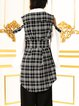 Black Cold Shoulder Checkered/Plaid Tunic With Belt