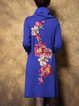 Floral-embroidered Elegant Cowl Neck A-line Midi Dress With Belt