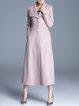 Pink Pockets Plain Simple A-line Longline Coat