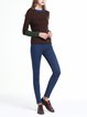 Burgundy Color-block Casual Sweater