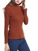 Rust Solid Long Sleeve Stand Collar Sweater