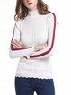 White Paneled Long Sleeve Sweater