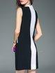 White Sleeveless Color-block Buttoned Mini Dress
