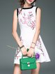 White Sleeveless Floral Embroidered Jacquard Mini Dress