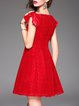 Red Frill Sleeve Silk Lace A-line Mini Dress