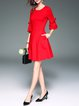 Red Frill Sleeve Cotton-blend A-line Solid Mini Dress