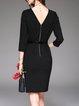 Black Cutout Elegant 3/4 Sleeve Midi Dress With Belt