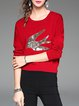 Wine Red Knitted Sequins Embroidery Long Sleeve Sweater