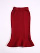 Red Two Piece Wool Crew Neck Long Sleeve Top With Skirt