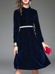 Navy Blue Buttoned A-line Casual Midi Dress