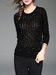 Black Knitted Pierced Beaded Sweater