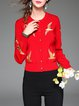 Red Crew Neck Bird Embroidery Knitted Buttoned Cardigan