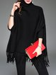 Black Turtleneck Fringed Batwing Casual Sweater