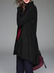 Black Fringed Shirt Collar Long Sleeve Plain Coat