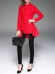 Red Fringed Shirt Collar Long Sleeve Plain Coat