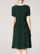 Green Crew Neck A-line Solid Short Sleeve Midi Dress