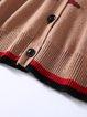 Khaki Long Sleeve V Neck Animal Print Coat