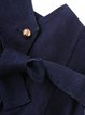 Navy Blue Knot Front Slit Sheath Elegant Midi Skirt