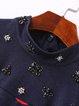 Navy Blue Long Sleeve Stand Collar A-line Printed Beaded Midi Dress
