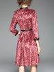 Red 3/4 Sleeve Printed Keyhole Midi Dress