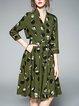 Casual Printed Surplice Neck A-line 3/4 Sleeve Midi Dress