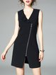 Sleeveless Solid Casual Sheath Surplice Neck Zipper Mini Dress