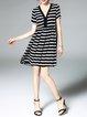 Black Silk Stripes Short Sleeve V Neck Mini Dress