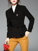 Wool Long Sleeve A-line Buttoned Pea Coat